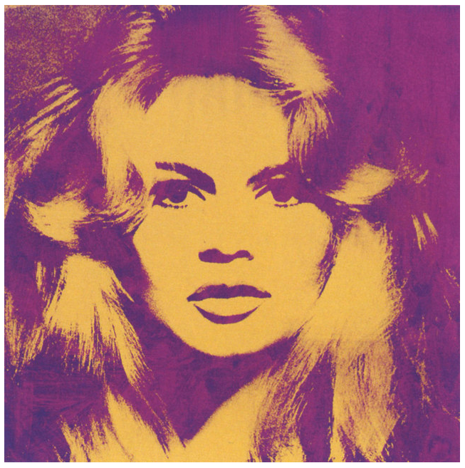 """Brigitte Bardot"" by Andy Warhol. The 1974 silkscreen will be included in the auction of the Gunter Sachs Collection, to be sold by Sotheby's in London on May 22-23. Estimate: £3,000,000– 4,000,000"