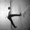 Bruce Nauman, Slow Angle Walk (Beckett Walk), 1968.  Black and white video, sound, 60 min.  Courtesy Electronic Arts Intermix (EAI), New York